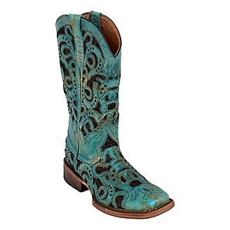 Ferrini Ladies Horseshoe Sq Toe Turq Boots