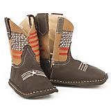 Roper Cowbaby American Flag SqToe Brown Boots