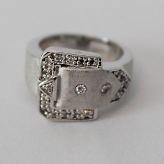 Ladies Large Buckle Ring Stainless Steel