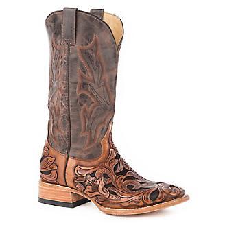 Stetson Mens Sq Toe Brn Handtooled Boots