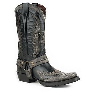 Stetson Mens Outlaw Toe Blk Eagle Boots