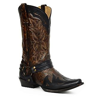 Stetson Mens Outlaw Toe Dist Brown Boots
