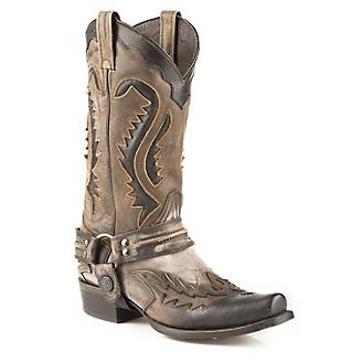 Stetson Mens Outlaw Toe Harness Brn Boots