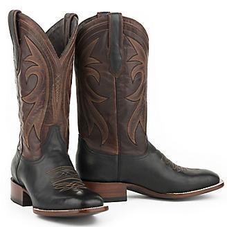 Stetson Mens Sq Toe Black Calf Vamp Boots