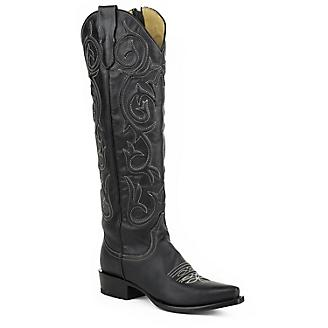 Stetson Ladies Snip Stacked Heel Blk Boots