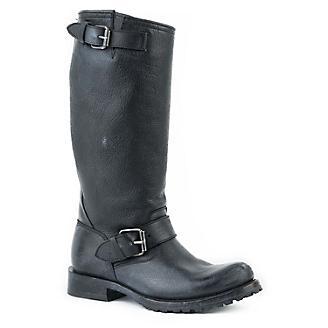 Stetson Ladies Rnd Toe Blk Side Belt Boots