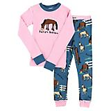 Lazy One Pasture Bedtime Kids Pajama Set 3T Pink