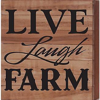 Live Laugh Farm Natural Wood Sign