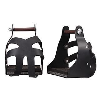 Tough1 Metal Endurance Stirrups with Leather Guard