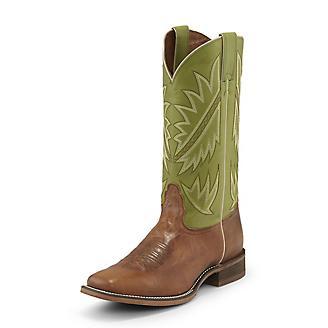 Nocona Mens Sq Toe Go Round Green Boots