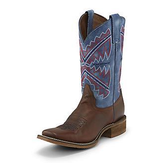 Nocona Ladies Sq Toe Nadia Blue/Brown Boots