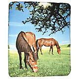 Two Horses Grazing 50x60 Fleece Throw Blanket