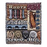 Boots Chaps and Cowboy Hats 50x60 Throw Blanket