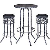 Black/Silver Star 3 Piece Pub Table and Stool Set