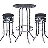 Black/Silver Horse 3 Piece Pub Table and Stool Set