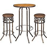 Black/Bronze Star 3 Piece Pub Table and Stool Set