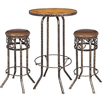 Black/Bronze Star 3 Piece Pub Table and Stool Set