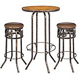 Black/Bronze Horse 3 Piece Pub Table and Stool Set