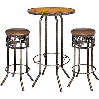 Black/Bronze Horse 3 Piece Pub Table and Stool Set