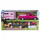 Pink Truck and Small Trailer Play Set