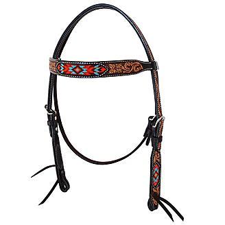 Oxbow Santa Fe Beaded Tooled Browband Headstall