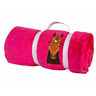 Lettia Brown Horse with Glasses Pink Fleece Throw