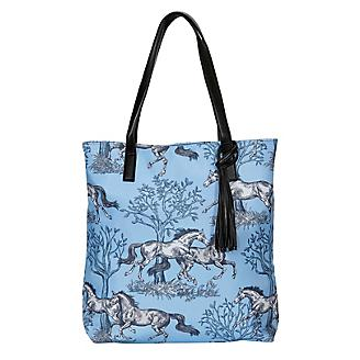 Lila Blue Toile Pattern Tote Bag with Tassel