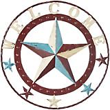 Decorative Metal Multicolor Welcome Star 18in