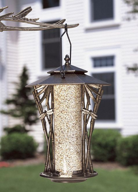 French Bronze 12 In Dragonfly Silhouette Feeder