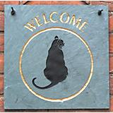Slate Welcome Plaque Cat