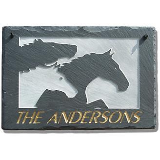 Three Horses Personalized Slate Plaque
