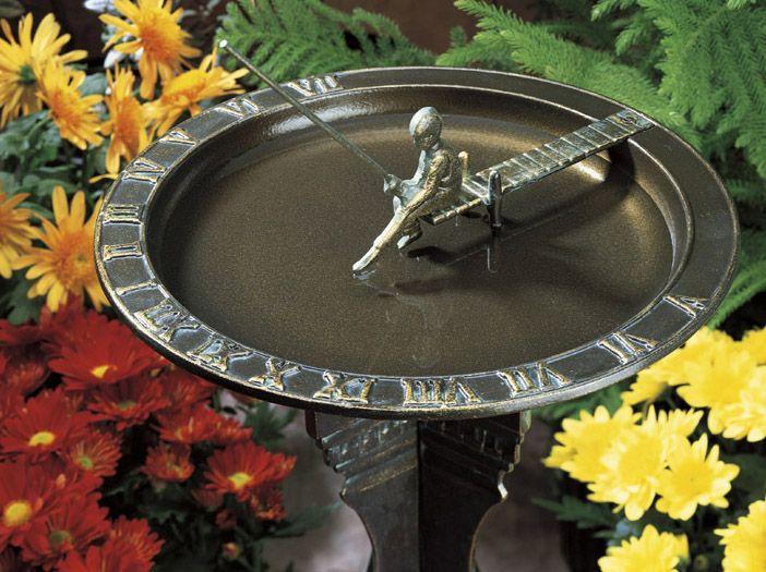 Fisherboy Sundial Birdbath Combination Bronze