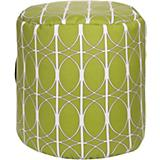 Fern Green Brown White Pouf