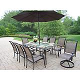 Cascade 9pc Dining Set with Umbrella and Stand
