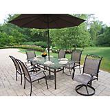 Cascade 7pc Dining Set w/ Tilting Umbrella n Stand