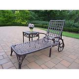 Elite Cast Aluminum Chaise Lounge with Side Table