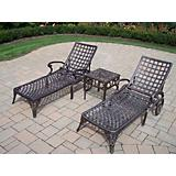 Elite Cast Aluminum 3pc Chaise Lounge Set
