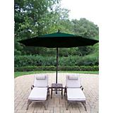 Elite 3pc Chaise Lounge Set w/ Offset Umbrella