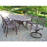 Mississippi 82x42In Oval 9pc Dining Set w/ Swivels