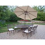 Mississippi 9pc Set with Cushion Beige Umbrella