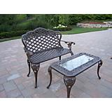 Tea Rose Loveseat and Cocktail Table Set Antq Brz