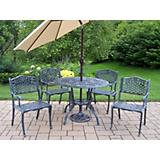 Tea Rose 5pc Dining Set with Umbrella and Stand