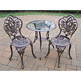 Butterfly Glass Top 3pc Bistro Set