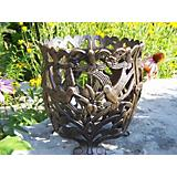 Hummingbird Round Flower Pot Cast Aluminum
