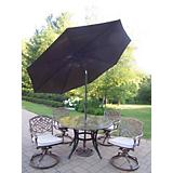 Stone Art 5pc Dining Set w/ Cushions Brn Umbrella