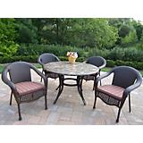 Stone Art Elite Wicker 5pc Set w/ Cushions Coffee