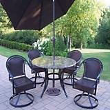 Stone Art 5pc Tuscany Dining Set with Brn Umbrella