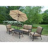 Hampton 4pc Chat Set w/ Cushons Umbrella and Crank
