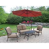 Hampton 4pc Chat Set w/ Cushon and Offset Umbrella