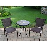 Rust Stone Art 3pc Bistro Set with Wicker Chairs